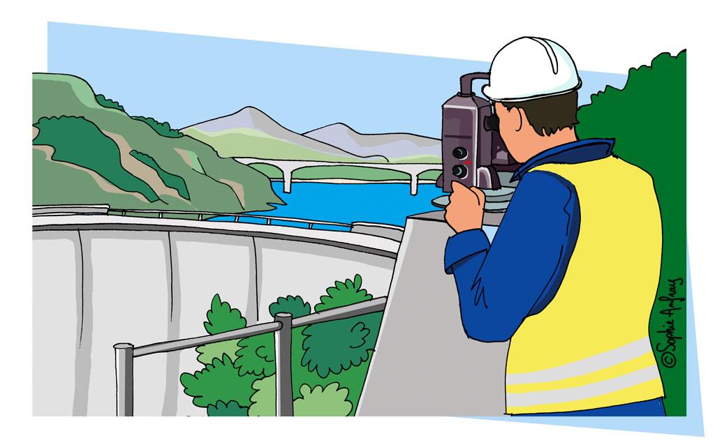 Géomètre surveille un barrage avec une station topographique.