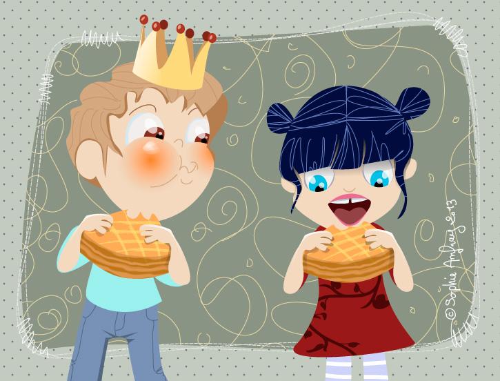 Deux enfants mangent une galette des rois