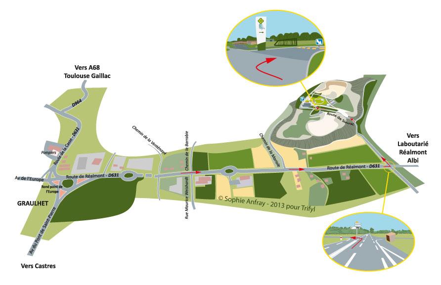 Plan d'accès au circuit pédagogique Trifyl