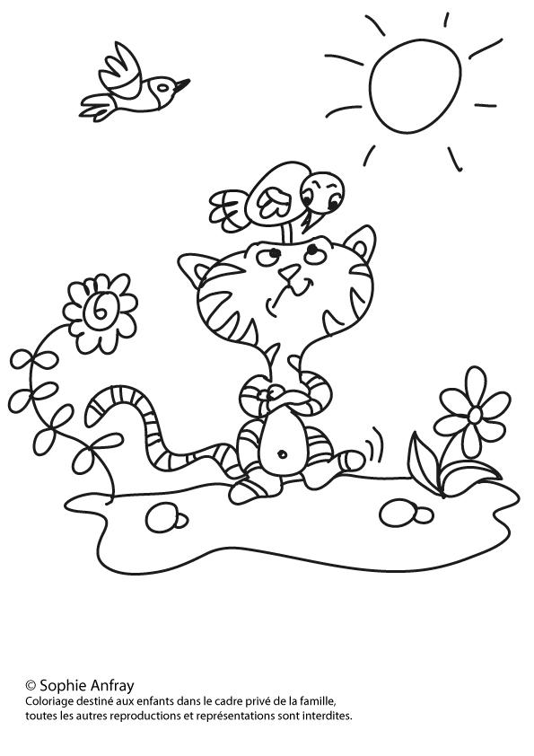 Coloriage pour enfant - Le petit chat et l'oiseau