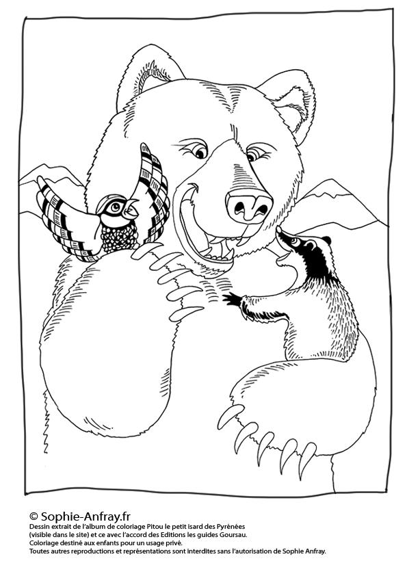 Coloriage pour enfant - L'ours, la perdrix et le blaireau.