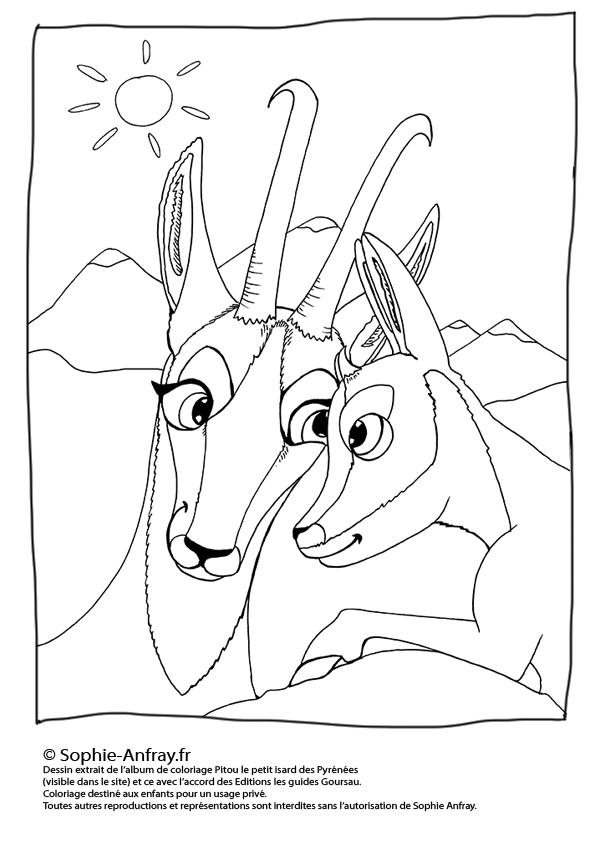 Coloriage pour enfant - Pitou et sa maman