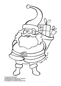 Coloriage pour enfant - Le Père Noël avec ses cadeaux