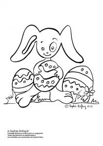 Lapin à colorier avec ses œufs de Paques