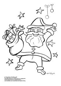 Coloriage pour enfant - Père Noël et sa hotte pleine de cadeaux