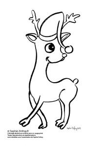 Coloriage pour enfants - Petit renne du Père Noël