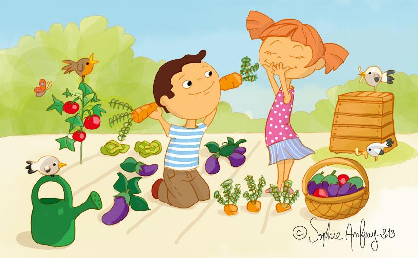 Les enfants jardinent avec du compost dans le potager