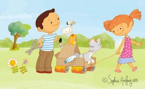 Les enfants ont fabriqué un chariot pour le chat avec des emballages