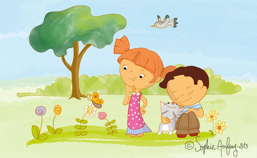 Les enfants sont dans le jardin avec le chat et se posent des questions