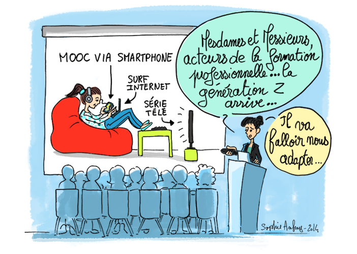Dessin d'humour sur l'évolution de la formation professionnelle avec la génération Z