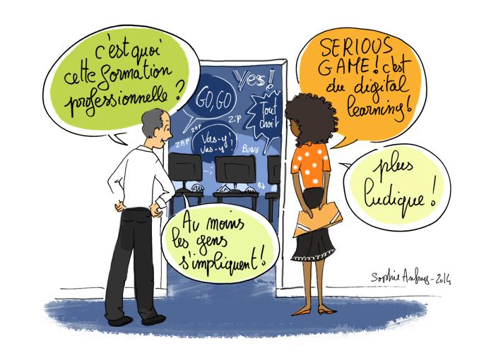 Dessin d'humour sur la digitalisation des formations