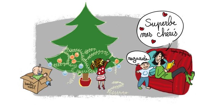 Dessin humoristique sur Noël avec les enfants