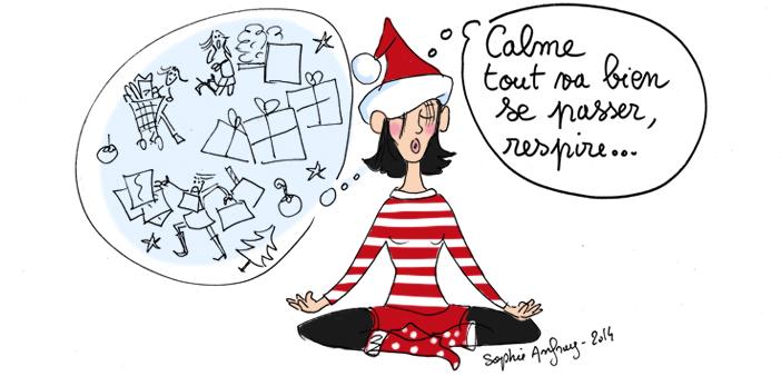 Dessin humoristique sur le stress des préparatifs de Noël