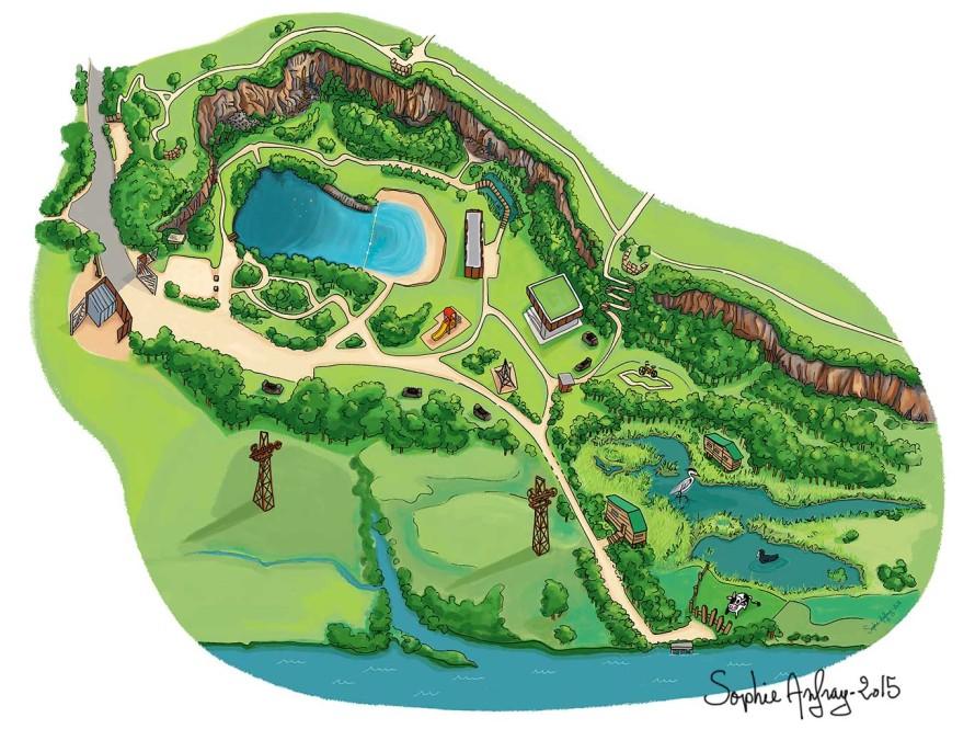 Plan en vue de dessus du site de la Roche Ballue à Bouguenais.