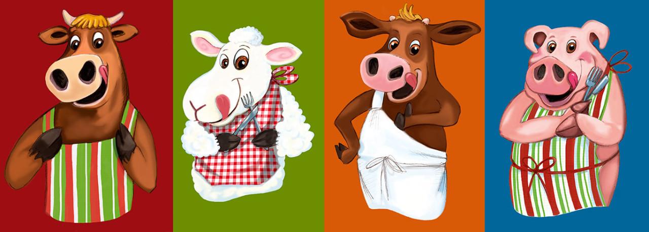 Boeuf, agneau,veau, porc avec des tabliers et se léchant les babines.