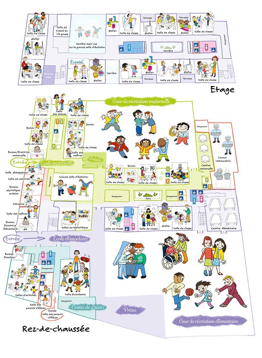 Plan d'une nouvelle école pour 2015 avec enfants dans les salles de classes.