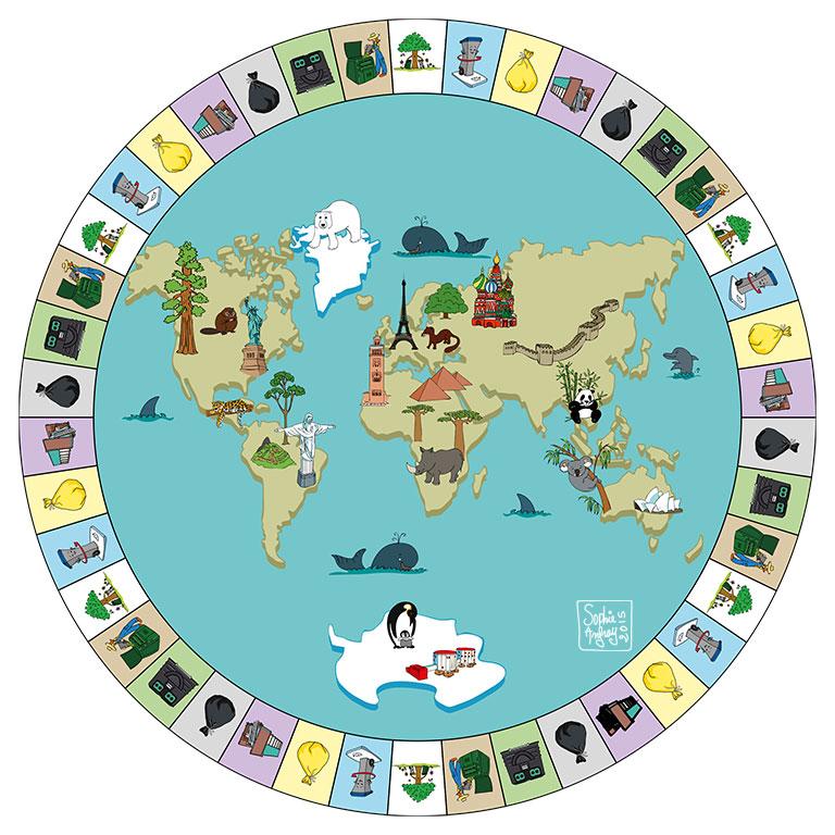 Jeux de plateau autour d'une planisphère avec symbolique des lieux