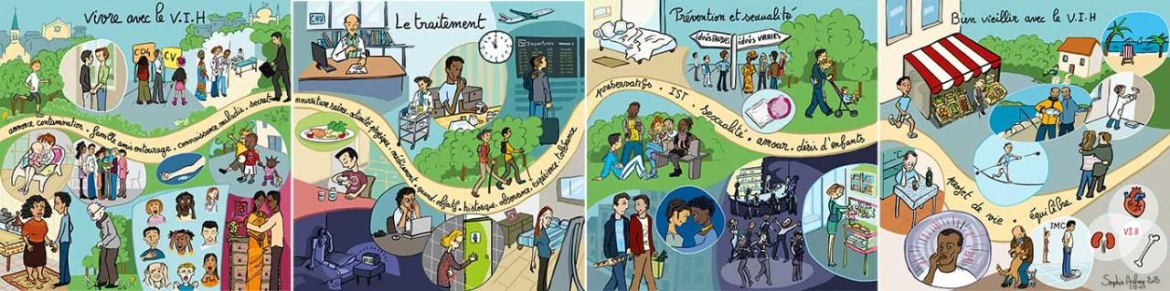 Scènes de vie autour du VIH.