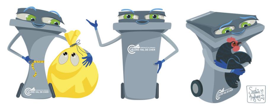 Mascotte poubelle au régime, poubelle qui présente, poubelle avec une poule dans les bras