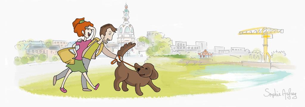 Couple promenant son chien à Nantes.