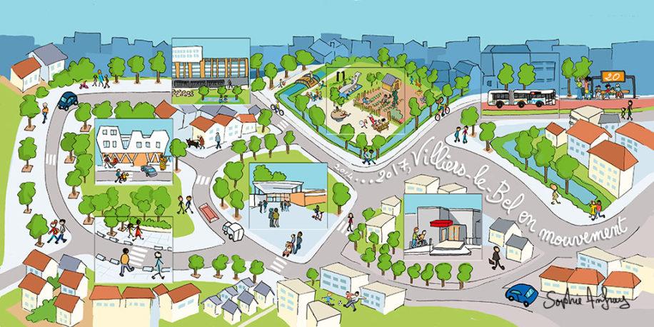 Vue globale des réalisations urbaines de la ville de 2014 à 2017