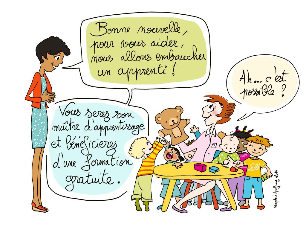 une directrice de crèche parle à une salariée assise à une petite table et qui s'occuppe d'un groupe de jeunes enfants.