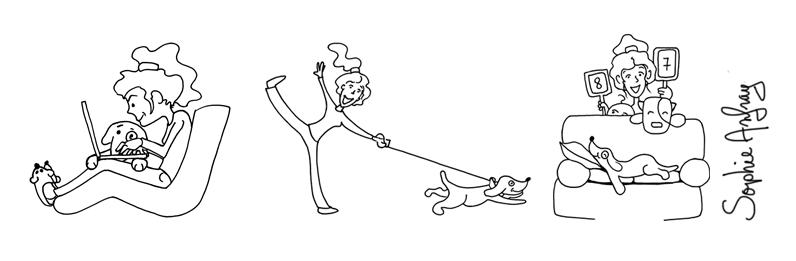 femme et ses chiens dans un fauteuil, sur un canapé et en promenade.