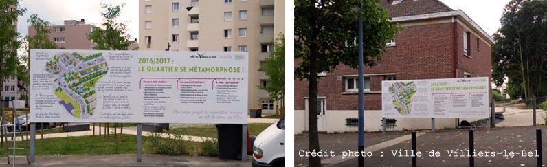 Panneau pédagogique sur la rénovation urbaine.