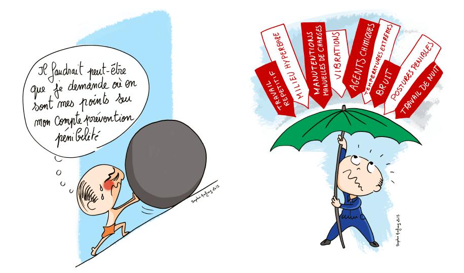 Dessins humoristiques sur le compte prévention pénibilité