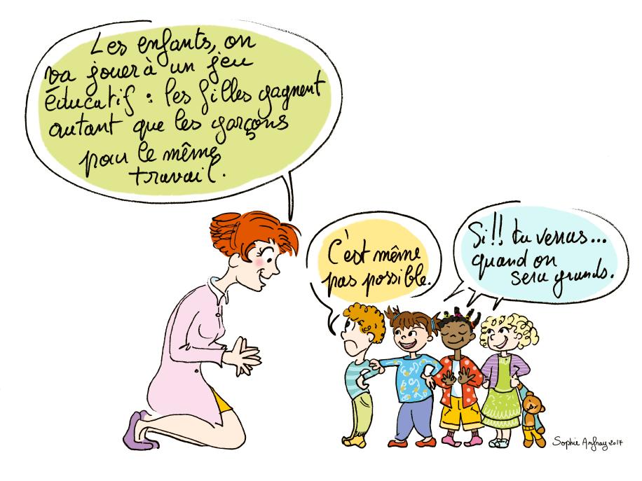 Une assistante maternelle propose un jeu sur l'égalité homme femme au travail à des enfants.