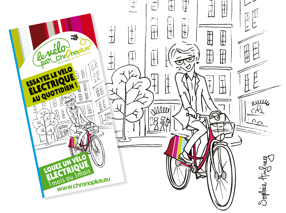 Femme sur un vélo électrique de location se promène dans la ville.