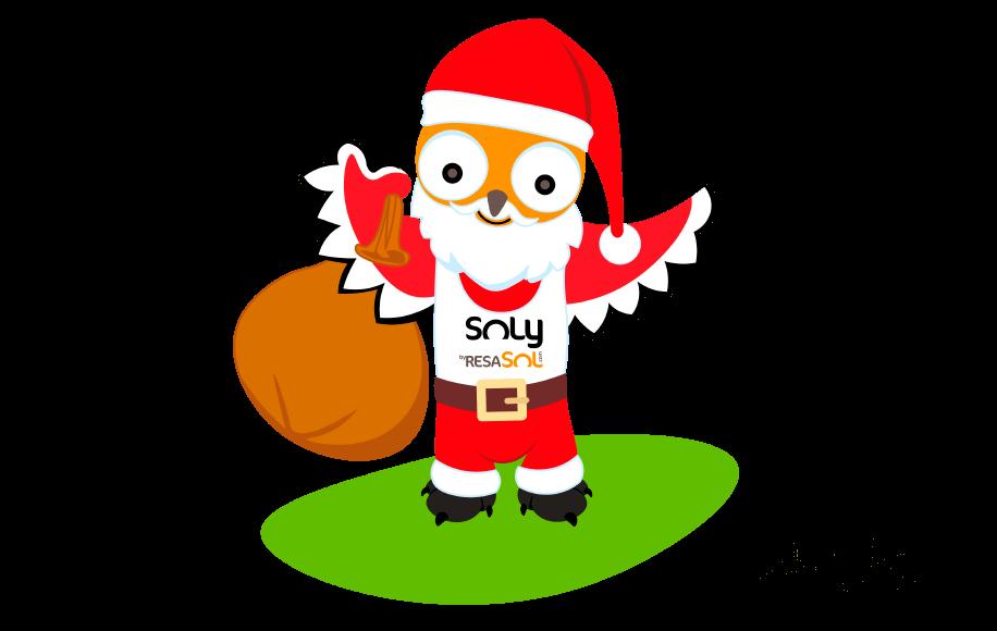 La mascotte Soly est déguisée en Père Noël.