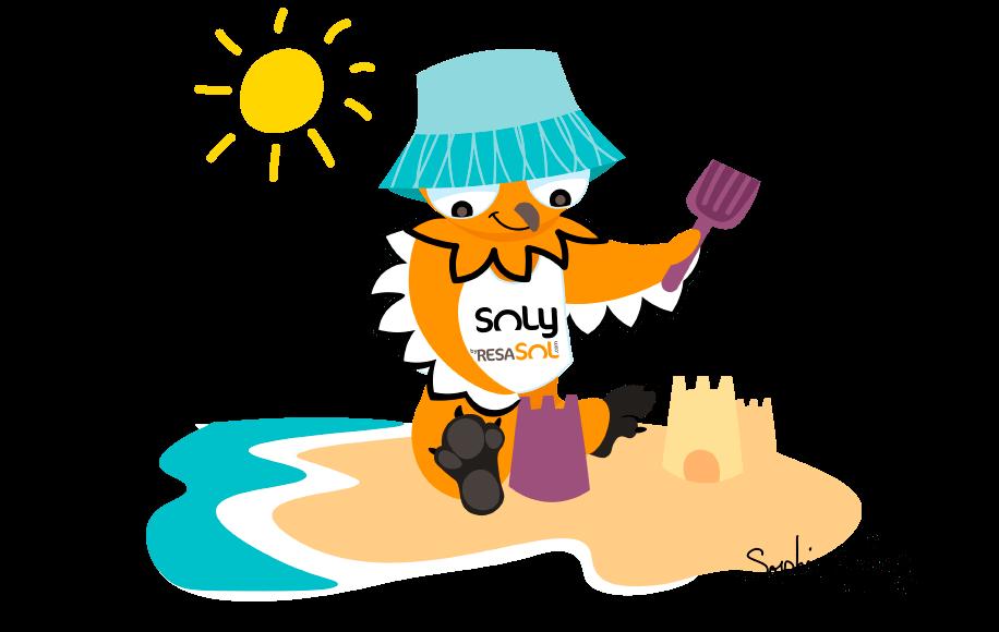 La mascotte Soly fait des pâtés de sable.