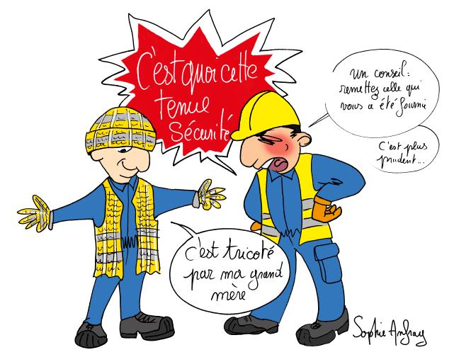 Un ouvrier a un pull jaune tricoté par sa grand mère ce en guise de tenue sécurité ce qui énerve fortement le chef de chantier.