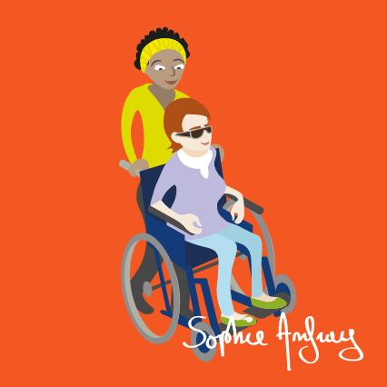 Une auxilière de vie pousse le fauteuil roulant d'une personne handicapée.