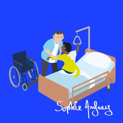 Un homme auxilière de vie aide une personne handicapée à s'habiller.