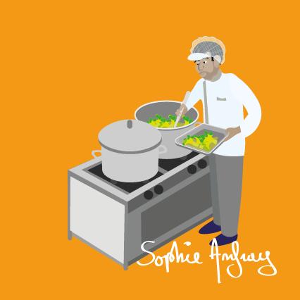 Un cuisinier de la restauration collective sert un plat.