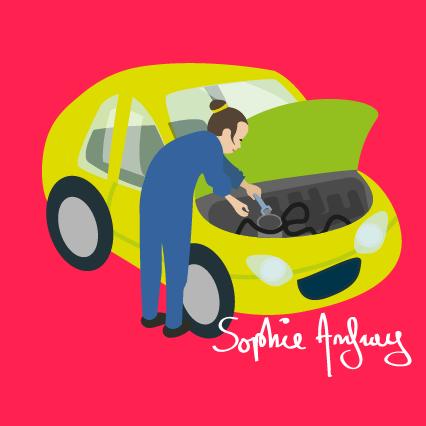 Une femme garagiste qui répare une voiture