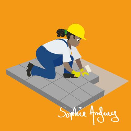 Une femme ouvrier du batiment pose des pavés.