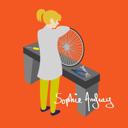 Une femme répare un pneu de vélo.
