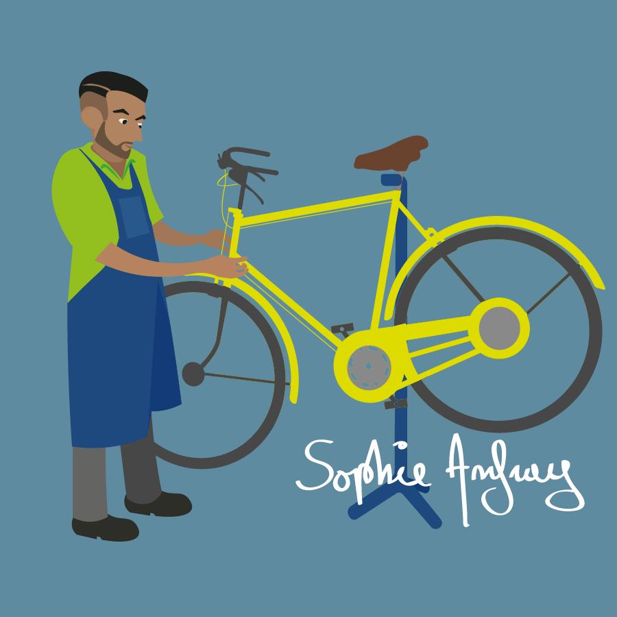 Homme qui répare un vélo.
