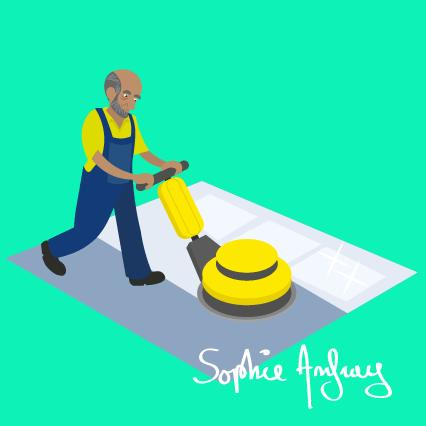 Une homme passe une machine professionnelle pour nettoyer le sol