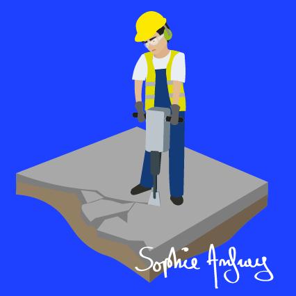 Un ouvrier fait des travaux au marteau piqueur.